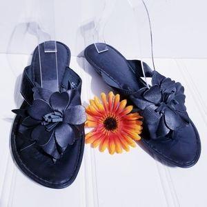 Born Black Flower Thong Sandal Womens Size 11